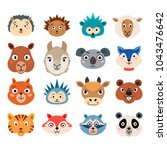set of cartoon cute animal...   Shutterstock .eps vector #1043476642
