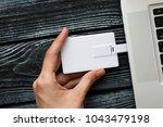 blank white plastic wafer usb... | Shutterstock . vector #1043479198