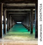 Small photo of One Point Perspective under a Makai Research Pier in Waimanalo, Oahu, Hawaii