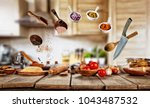 flying cooking ingredients with ... | Shutterstock . vector #1043487532