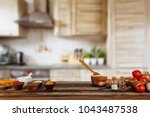 baking ingredients placed on... | Shutterstock . vector #1043487538