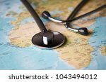 doctor's medical stethoscope... | Shutterstock . vector #1043494012