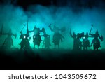 medieval battle scene with... | Shutterstock . vector #1043509672
