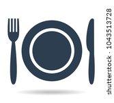plate  fork and knife on white... | Shutterstock .eps vector #1043513728