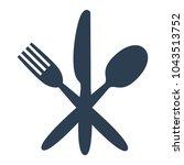 knife  fork and spoon on white... | Shutterstock .eps vector #1043513752