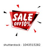 sale off 10  sign with red label | Shutterstock .eps vector #1043515282