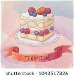 triple berry tiramisu dessert... | Shutterstock .eps vector #1043517826