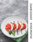 tomatoes  mozzarella cheese ... | Shutterstock . vector #1043518492