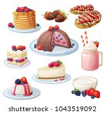 berry mix dessert collection.... | Shutterstock .eps vector #1043519092