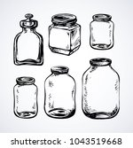 new blank clear tin on light ... | Shutterstock .eps vector #1043519668