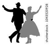 hungarian folk dancers couple... | Shutterstock .eps vector #1043520928