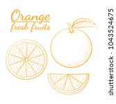 outline icon of oranges on... | Shutterstock .eps vector #1043524675