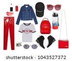 lothing collage. the collage... | Shutterstock . vector #1043527372