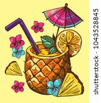 tropical cocktail in pineapple. ... | Shutterstock .eps vector #1043528845