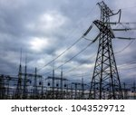 high voltage  power lines at... | Shutterstock . vector #1043529712