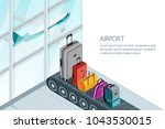 different luggage  suitcase ... | Shutterstock .eps vector #1043530015