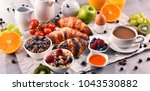 breakfast served with coffee ... | Shutterstock . vector #1043530882