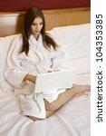 portrait of beautiful brunette...   Shutterstock . vector #104353385