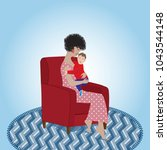 mom sitting on the armchair and ... | Shutterstock .eps vector #1043544148