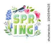 spring lettering creative... | Shutterstock .eps vector #1043549635