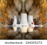Explosion of a nuclear power plant. Environmental concept. - stock photo