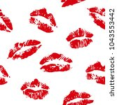 lips print red seamless vector... | Shutterstock .eps vector #1043553442