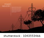 transmission towers orange... | Shutterstock .eps vector #1043553466