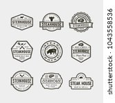 set of vintage steak house... | Shutterstock .eps vector #1043558536