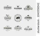 set of vintage steak house... | Shutterstock .eps vector #1043558542