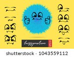 funny fuzzy wow smile sketch... | Shutterstock .eps vector #1043559112