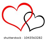 red and black hearts | Shutterstock . vector #1043563282