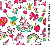 cute girl's seamless pattern... | Shutterstock .eps vector #1043586112