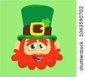 leprechaun in green hat face.... | Shutterstock .eps vector #1043590702