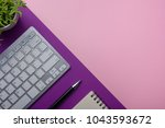 office desk table with supplies.... | Shutterstock . vector #1043593672