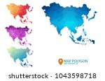 asia map   set of geometric... | Shutterstock .eps vector #1043598718