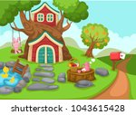 illustration of a tree house... | Shutterstock .eps vector #1043615428