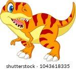 cartoon tyrannosaurus isolated... | Shutterstock .eps vector #1043618335