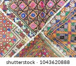 indian silk fabric colorful...   Shutterstock . vector #1043620888