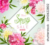 floral background with blooming ... | Shutterstock .eps vector #1043622802
