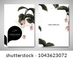 Stock vector greenery greeting invitation card template design pink medinilla magnifica flowers with black 1043623072