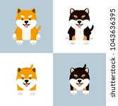 set of cute sitting shiba inu... | Shutterstock .eps vector #1043636395