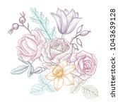 vintage vector floral... | Shutterstock .eps vector #1043639128