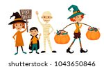 kids in halloween costumes... | Shutterstock . vector #1043650846