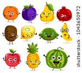 cartoon funny fruits characters ... | Shutterstock . vector #1043650972