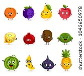 cartoon funny fruits characters ... | Shutterstock . vector #1043650978