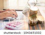 business man calculate about...   Shutterstock . vector #1043651032