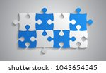 blue and grey piece puzzle... | Shutterstock .eps vector #1043654545