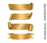 set of gold realistic ribbons | Shutterstock .eps vector #1043654782