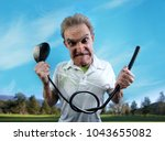an angry  frustrated golfer...   Shutterstock . vector #1043655082
