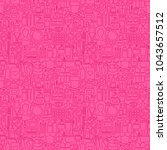 cosmetics line seamless pattern.... | Shutterstock .eps vector #1043657512